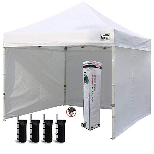 Eurmax 10 x10 Ez Pop-up Canopy Tent Commercial Instant Canopies with 4 Removable Zipper End Side Walls and Roller Bag, Bonus 4 SandBags, White