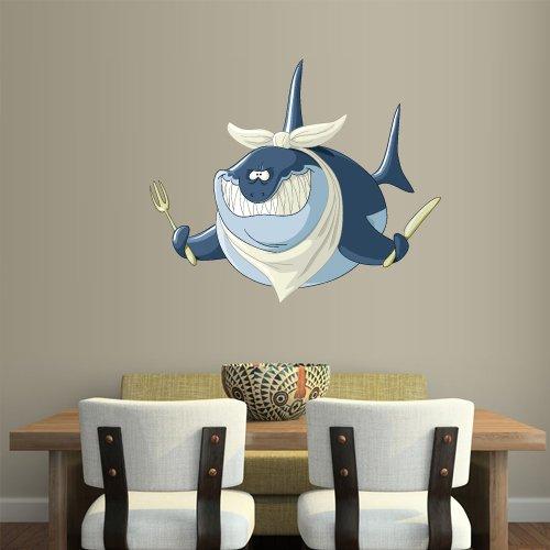 Full Color Wall Decal Mural Sticker Decor Art Beautyfull Cute Cartoon Animal Shark Fish Fork Knife -