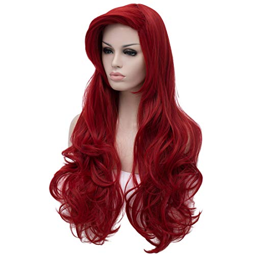 Red Mermaid Wig (Max Beauty Curly Long Red Mermaid Wigs Daily Wig Hair Heat Resistant Synthetic Fiber for Halloween Wig Cosplay Wig Christmas for)