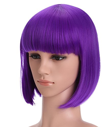Neon Purple Wig (Short Bob Wigs Purple Wig for Women with Bangs Straight Synthetic Wig Natural As Real Hair 12''with Wig Cap)