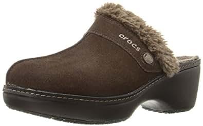 crocs Women's Cobbler Leather Clog, Espresso/Black, 4 M US