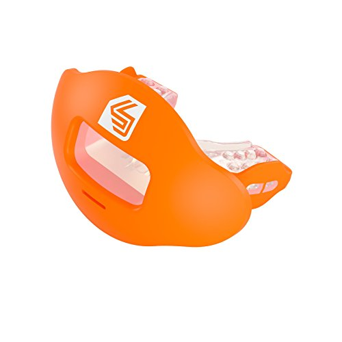 Shock Doctor Max Airflow 2.0 Lip Guard / Mouth Guard. Football Mouthguard 3500. For Youth and Adults OSFA. Breathable Wide Opening Mouthpiece. Helmet Strap Included.
