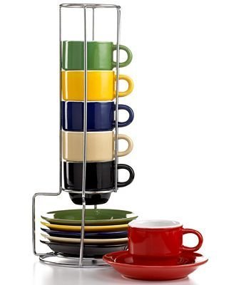 Sensations 13 Piece Espresso set with Metal Rack in Espresso by Gibson Overseas