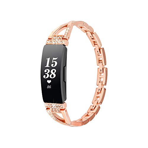 WINOW Compatible with Fibit Inspire HR Bands/Inspire Band Women Girl Metal Strap Replacement Jewelry Bracelets/Wristbands with Bling Stone for Fitbit Inspire/Inspire hr Smartchatch(Rose Gold)