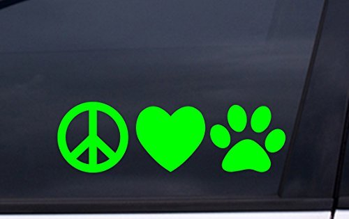 focenterprises-peace-love-dog-paw-vinyl-decal-3x7-green-rescue-pound-puppy-sticker
