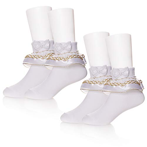 (PUREMART 2 Pack Baby Girls Toddlers Kids Classic White Princess Lace Ruffle Frilly Mesh Socks Ankle Cotton Socks for 1-8 Year Old (3-5 Year Old, 2 Pack White With Gold Satin))