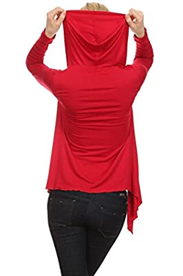 Women's Solid Color Rayon Jersey Open Cardigan with Hood. MADE IN USA
