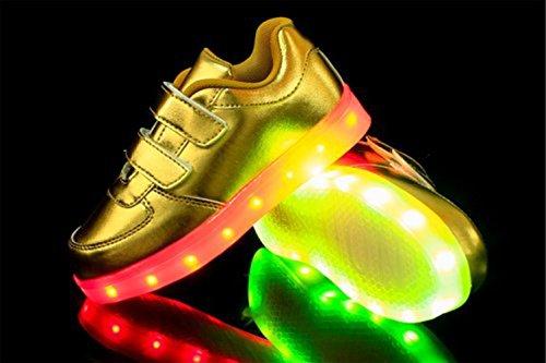 (Present:kleines Handtuch)JUNGLEST® 7 Farbe LED Leuchtend Aufladen USB Kinderschuhe Paare Schuhe Herbst und Winter Sport schuhe Freizeitschuhe Leucht lau Golden