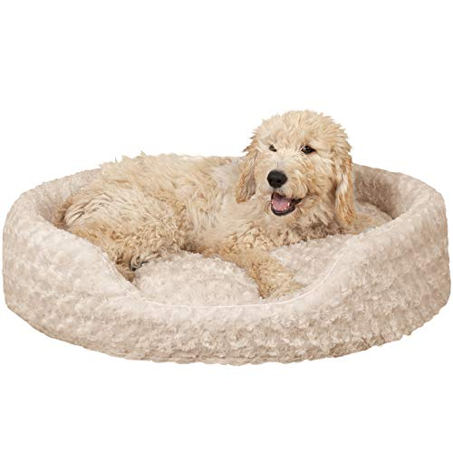 FurHaven Pet Dog Bed | Oval Ultra Plush Pet Bed for Dogs & Cats, Large, ()