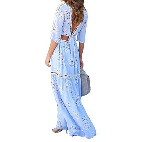 Casual V Courtes Maxi D't Plage Haut Ensemble Col Robe Manner Femme Bohmien Chic Jupe de Bold Longue Fleur Bleu Manches vURSBw6q