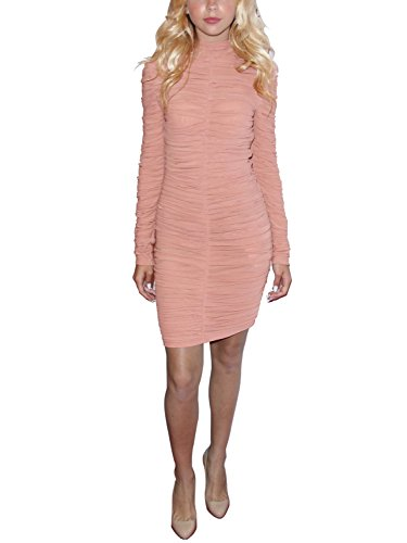 S Curve Women's Textured Long Sleeve Stretch Ruched Mesh Bodycon Dress Pink Medium