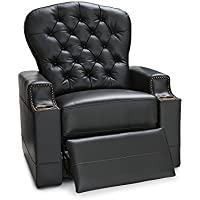 Seatcraft Imperial Leather Power Recliner with Tufted Backrest, Nailhead Accent Arms, and USB Charging, Black