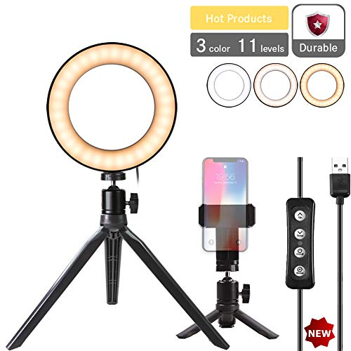 """Natwag 6"""" Selfie Ring Light with Tripod Stand & Cell Phone Holder for YouTube Video and Makeup,Live Stream,Portrait Photography.Mini LED Camera Light with 3 Light Modes & 11 Brightness Level"""