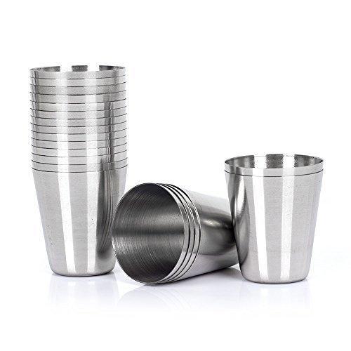 20pcs 30ml (1 Ounce) Stainless Steel Shot Glasses Set of 20 ()