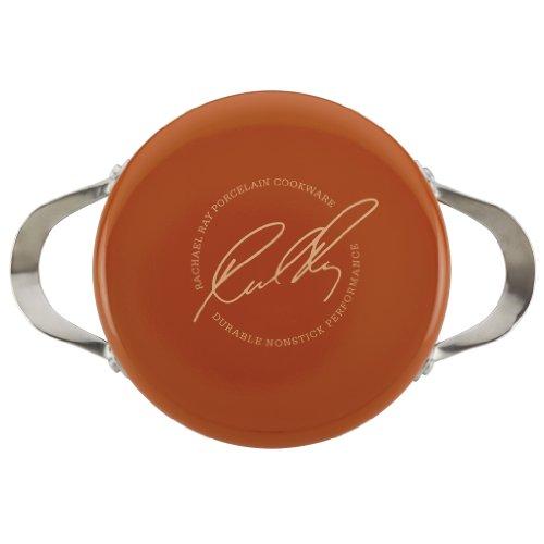 Rachael Ray Cucina Hard Porcelain Enamel Nonstick Covered Round Casserole, 2.5-Quart, Pumpkin Orange