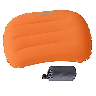 Inflatable Camping Pillow - Ultralight Sleeping Pillow for Backpacking, Camping, Plane Traveling, Head and Neck Support, Orange from BOMING