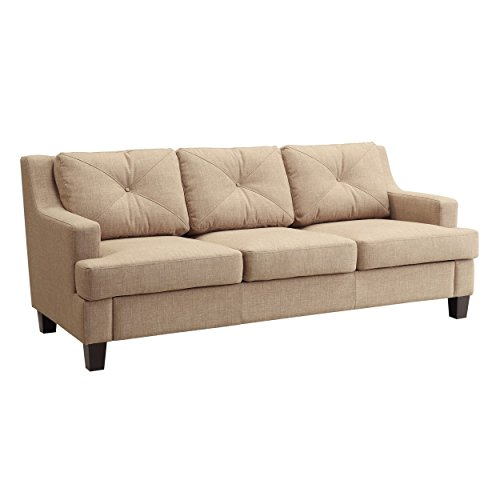Modern Linen Button Tufted Sloped Arm Sofa with Track Living Room Decor | Espresso Wooden Feet and Foam Seat Cushions – Includes ModHaus Living Pen (Light Brown)