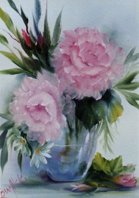 How-to Painting Packet Pink Roses in Glass