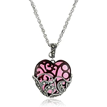 """Sterling Silver Oxidized Genuine Marcasite and Garnet Colored Glass Heart Pendant Necklace, 18"""""""