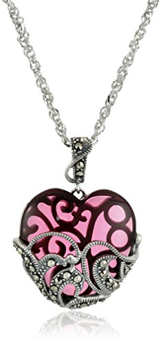 (Sterling Silver Oxidized Genuine Marcasite and Garnet Colored Glass Heart Pendant Necklace, 18