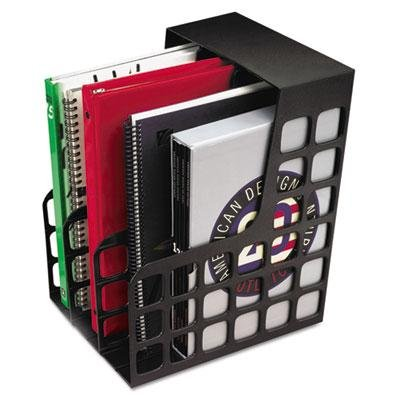 DecoRack Plastic Magazine File, Two Snap-In Dividers, 9 x 10 5/8 x 12, Black Decorack Plastic Magazine File