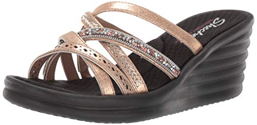 Skechers Women's Rumbler Wave-New Lassie Wedge Sandal,  rose gold, 11 W US (Gold Sandals Size 11)