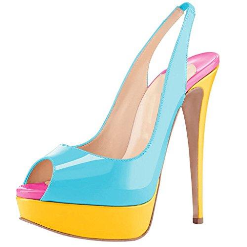 Sirena Alto Sling Donna Viola Da Peep Tacco Sandali Scarpe toe Indietro Blu qXE8wx