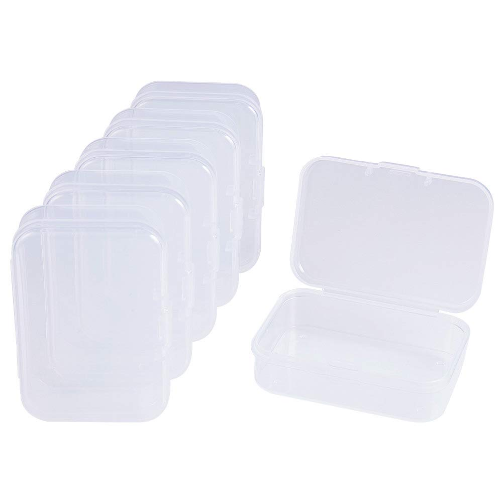 BENECREAT 12 Pack 3.5x2.4 Rectangle Mini Clear Plastic Bead Storage Containers Box Case with lid for Items,Pills,Herbs,Tiny Bead,Jewerlry Findings and Other Small Items