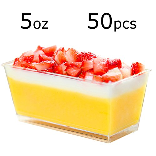 Tosnail 5oz Rectangular Dessert Appetizer Tumbler Cups - 50 Pack