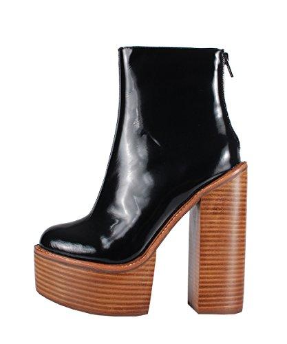 Jeffrey Campbell Mulder Boots Black–Botas Negro Tacón de madera negro