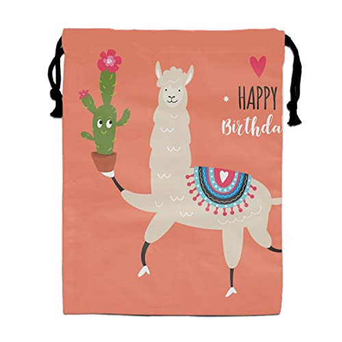 Cute Llama Birthday Drawstring Backpack Bags for Party Favors Supplies Birthday, Gift for Kids Teens Boys and Girls, 1 Pack 15.75 x 11.8