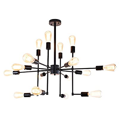 Lingkai Industrial Chandelier 16-Light Sputnik Ceiling Light Vintage Metal Pendant Hanging Light Black Painted Finish