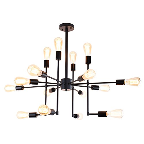 Lingkai Industrial Sputnik Chandelier 16-Light Pendant Lighting Vintage Ceiling Light Fixture Hanging Light Black Painted Finish
