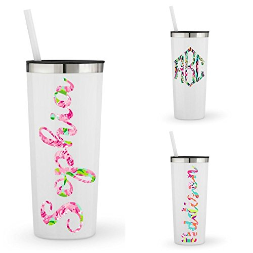 (Monogrammed Stainless Steel Tumbler w/Lilly Inspired Vinyl Decal / 20oz Skinny or 22oz White Powder Coated Tumbler/Personalized with Name, Word or Monogram)