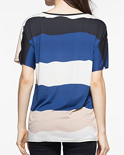 Col Anyu Rond Chemises Manches Marine Courtes T Rayures Shirt Tops Pull Femmes 1w1FgX