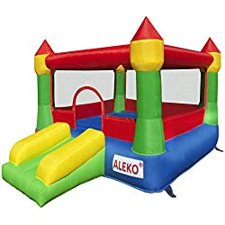 ALEKO BHCASTLE Inflatable Commercial Royal Castle Bouncy Bounce House Jump and Slide Bouncer with UL Approved Blower 12 x 8.5 x 6.5 Feet