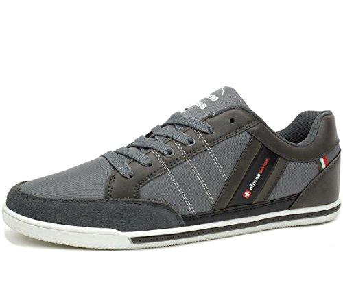 Alpine Swiss Mens Stefan Gray Suede Trim Retro Fashion Sneakers 11 M US (Mens Casual Fashion Sneakers)