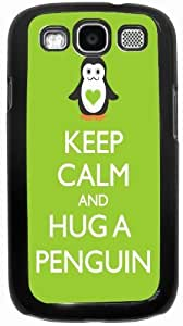 Rikki KnightTM Keep Calm and Hug a Penguin Lime Green Color - Black Hard Rubber TPU Case Cover for Samsung? Galaxy i9300 Galaxy S3