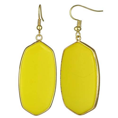 TUMBEELLUWA Crystal Quartz Stone Dangle Hook Earrings Oval Gold Plated, Yellow Crystal