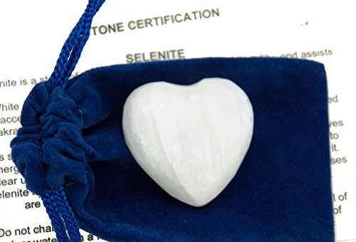 - Fundamental RockhoundTM Products: 30mm White Selenite Pocket Heart gemstone crystal with carrying pouch, info card, stone certification