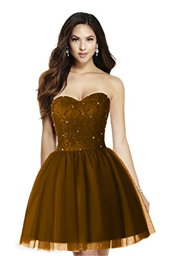 Ausschnitt Cocktailkleid Partykleid Modern schokolade Linie Bride Herz Mini Brautjungfernkleid Applikation Tuell Gorgeous Hell A tg1wqBB