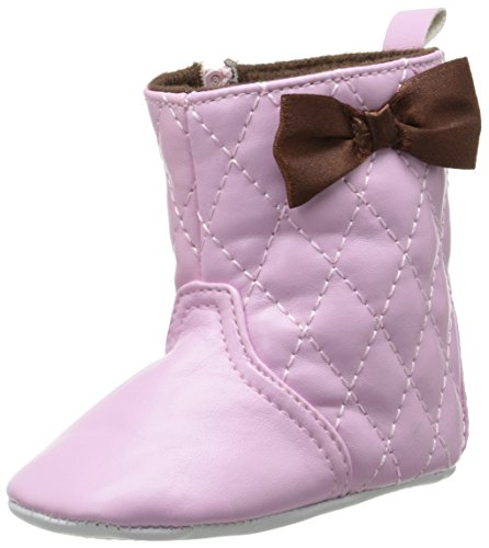 Luvable Friends Girl's Quilted Zip Boot (Infant), Pink, 0-6 Months M US Infant (Infant Puddle Jumpers Shoes)