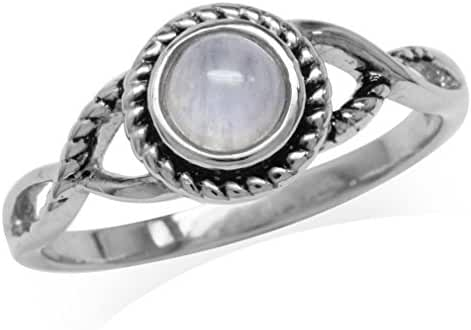 Natural Moonstone White Gold Plated 925 Sterling Silver Rope Solitaire Ring