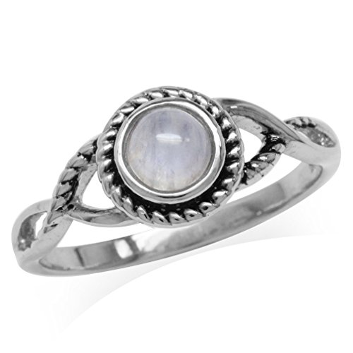 Natural Moonstone White Gold Plated 925 Sterling Silver Rope Solitaire Ring Size 10 (Moonstone Ring Size 10)