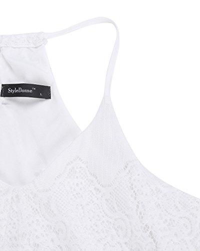 Les Femmes Styledome Robes En Dentelle Florale Crochet Moulants Robes Maxi Longues V Cou Blanc