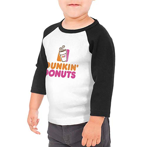 Dunkin Donuts Unisex 100% Cotton Children's 3/4 Sleeves T-Shirt Top Tees 2T~5/6T 2T Black ()