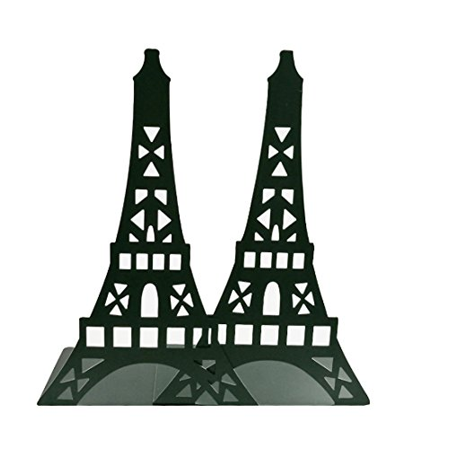 Winterworm Stylish Classical Hollow out Modern France Paris Landmark Eiffel Tower Metal Decorative Bookend Book End Book Organizer For Library School Office Home Desk Study Gift (Black) by Winterworm