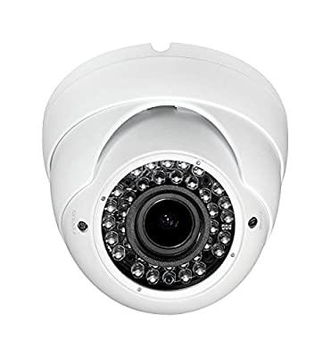 HD 1080P TVI Dome Camera Sinis 2MP Hybrid TVI/CVI / AHD/Analog 4 in 1 Turret, 2.8-12mm Varifocal Zoom Lens 36 IR LED, IP66 Waterproof Day Night Vision CCTV Security Camera White- Switchable Output by SINIS SECURITY