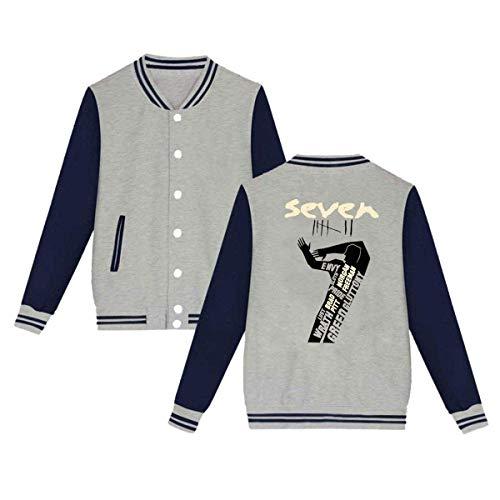Rain-Mate Se7en Mens & Womens Cool Hoodie Baseball Uniform Jacket Sport Coat Gray