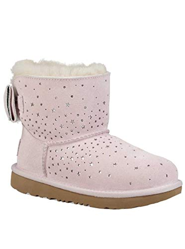 UGG Girls' K Stargirl Classic Mini II Bow Fashion Boot, Baby Pink, 5 M US Big -